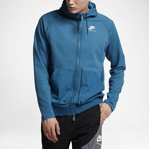 d8f2e2ef Мужская худи с полноразмерной молнией Nike International (Синий ...